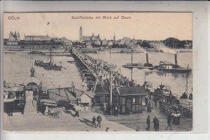 5000 KÖLN, Schiffsbrücke mit Blick auf Deutz, 1907, belebte Szene