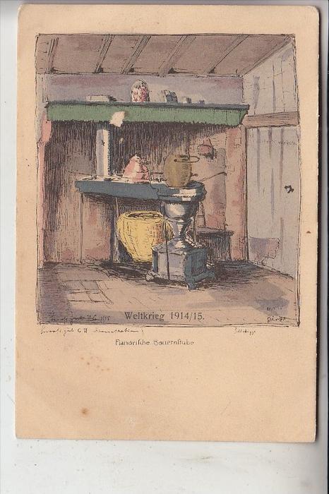 MILITÄR - 1.Weltkrieg, 1914 - 15, Flandrische Bauernstube, Feldpostkarte