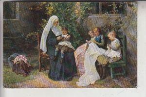 KINDER - Nonne, Sticken, Künstler-Karte Karl Schultheiß, 1922