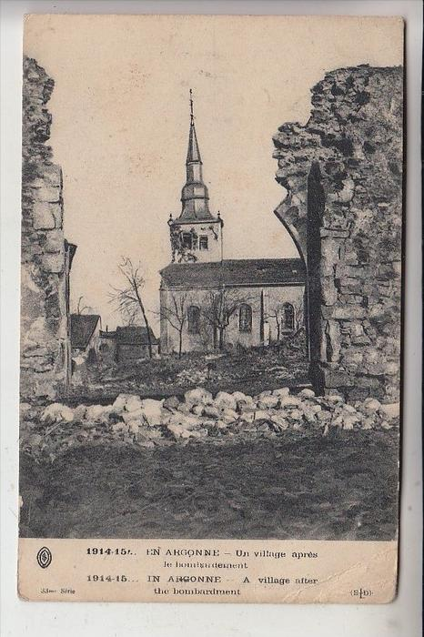 MILITÄR - 1.Weltkrieg, Argonnen, Zerstörungen nach dem Bombardement, 1914-15, franz. Feldpost