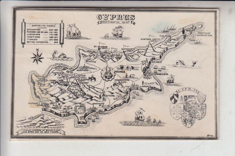 ZYPERN / CYPRUS, Historical Map, 1950