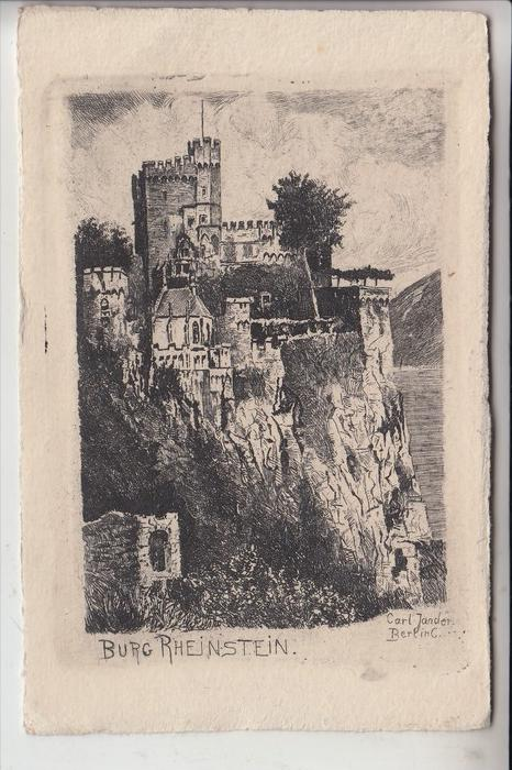 6531 TRECHTINGSHAUSEN, Burg Rheinstein, Künstler-Karte Carl Jander-Berlin