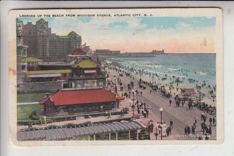 USA - NEW JERSEY - ATLANTIC CITY, Looking up the beach from Michigan Av., 1927