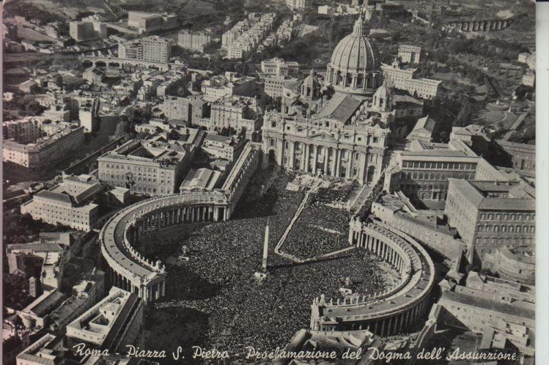 VATICAN, Piazza S. Pietro, Petersplatz, Luftaufnahme, 195.. Briefmarke fehlt
