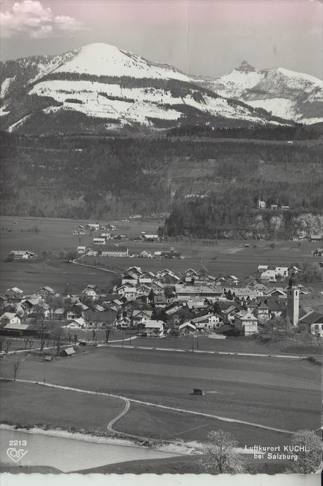 A 5431 KUCHL bei Salzburg, Ortsansicht, 196...., Briefmarke fehlt, kl. Eckknick