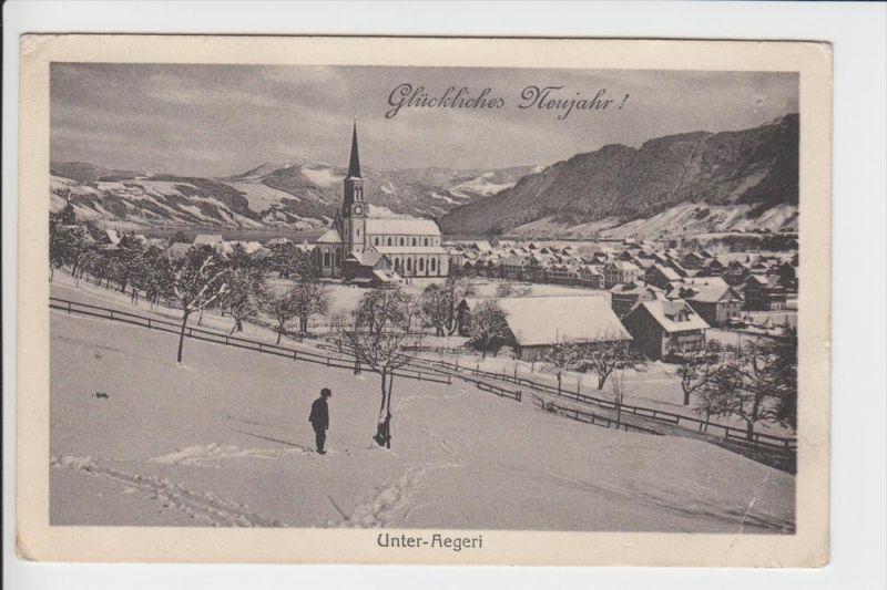 CH 6314 UNTERAEGERI, Neujahrskarte 1915, kl. Eckknick