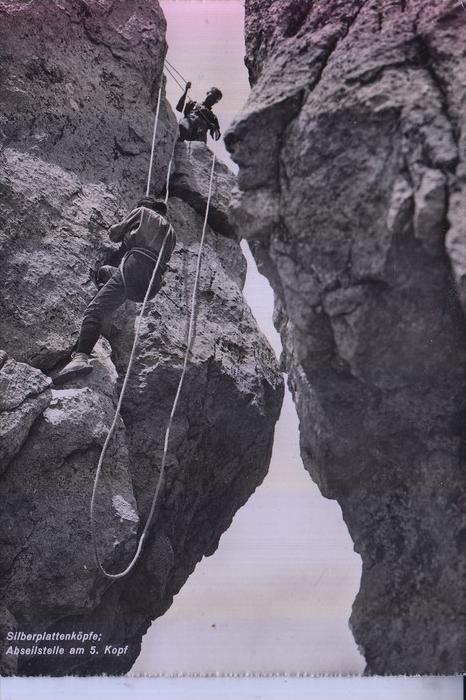 SPORT - BERGSTEIGEN / Climbing, Silberpalttenköpfe Urnäch / CH, Abseilstelle am 5. Kopf