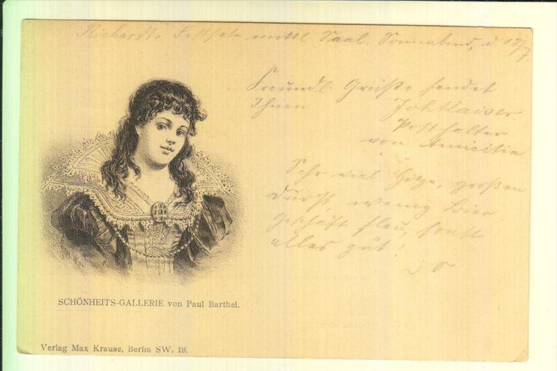 MODE - Schönheits-Gallerie von Paul Barthel, frühe Karte - ungeteilte Rückseite / undivided back