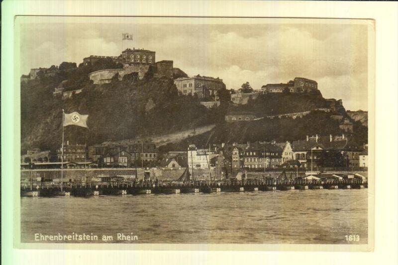 5400 KOBLENZ, Pontonbrücke und Ehrenbreitstein, NS-Beflaggung, kl. Druckstelle