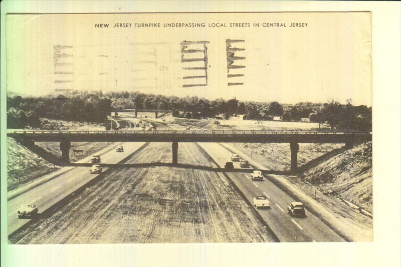 USA - NEW JERSEY - New Jersey Turnpike underpassing local streets in Central Jersey, 1960
