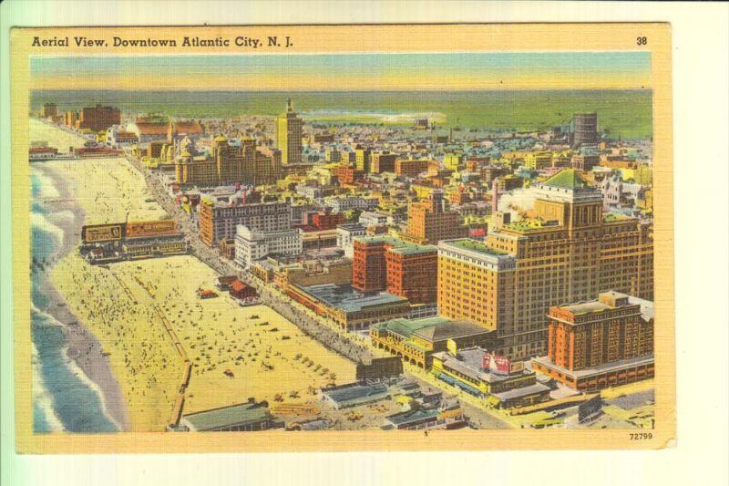 USA - NEW JERSEY - ATLANTIC CITY, Aerial View, 1949, Tichnor