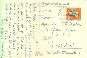 SCHWEIZ, PRO PATRIA 1961, Einzelfrankatur nach Düsseldorf, 17.VI.1961