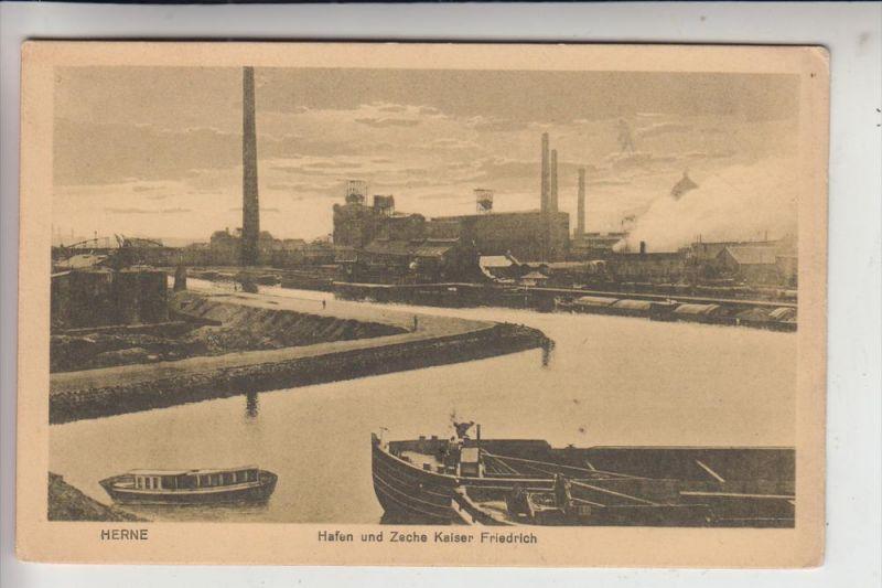 4690 HERNE, Bergbau - mining, Hafen und Zeche Kaiser Friedrich