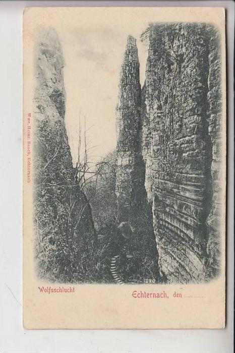 L 6400 ECHTERNACH, Wolfsschlucht / RELIEF-Karte, frühe Karte - ungeteilte Rückseite