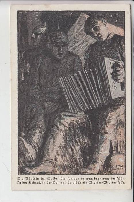 MILITÄR - 1.Weltkrieg, Musik, Künstler-Karte F. Staeber