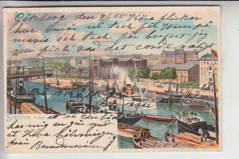 POMMERN - STETTIN, Lithographie, Hafen, 1905 0