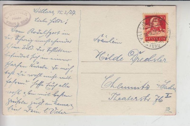 CH 1884 VILLARS SUR OLLON, 1927, BOBSPORT 1