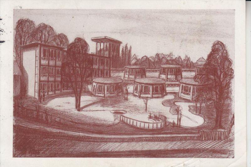 5200 SIEGBURG, Mädchengymnasium Siegburg, Zeichnung von M.Köppen, 1953, Einriss 0