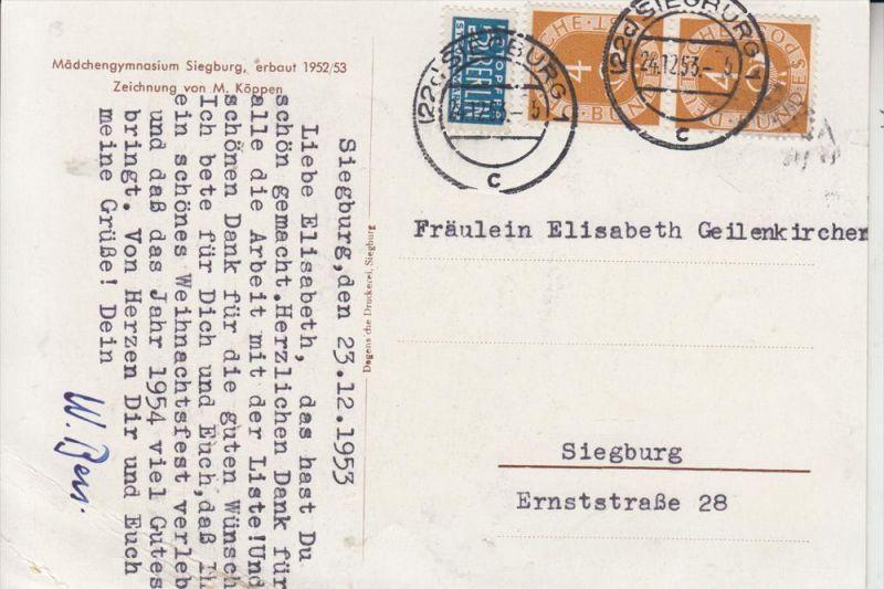 5200 SIEGBURG, Mädchengymnasium Siegburg, Zeichnung von M.Köppen, 1953, Einriss 1