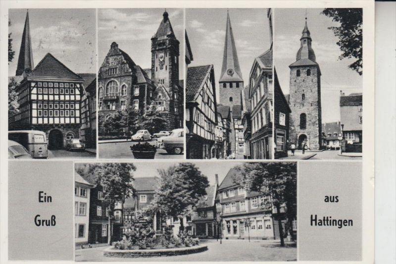 4320 HATTINGEN, Mehrbildkarte 1962, aptierter Stempel 0