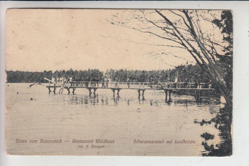 0-7580 WEISSWASSER, Braunsteich, Restaurant Waldhaus, Schwimmanstalt mit Laufbrücke 0