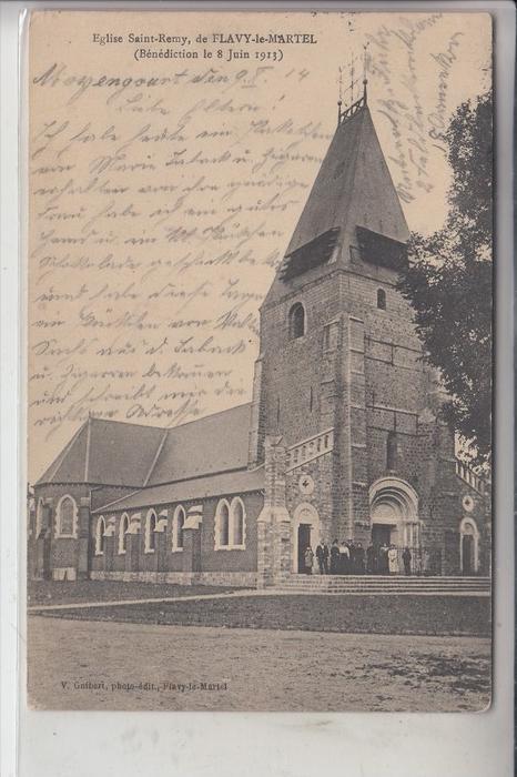 F 02520 FLAVY - LE - MARTEL, Eglise St. Remy, deutsche Feldpost 0