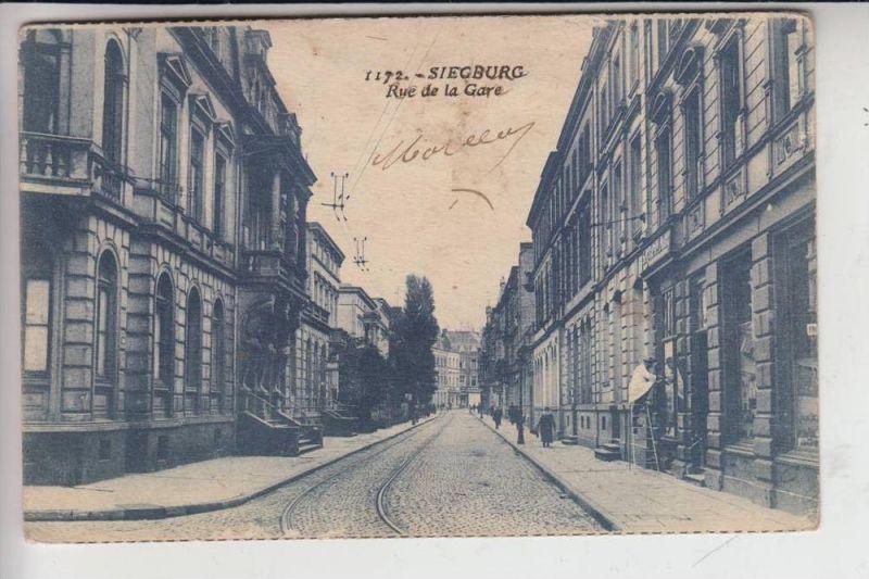 5200 SIEGBURG, Bahnhofstrasse / Rue de la Gare 1925, aus der Zeit der franz. Rheinlandbesetzung
