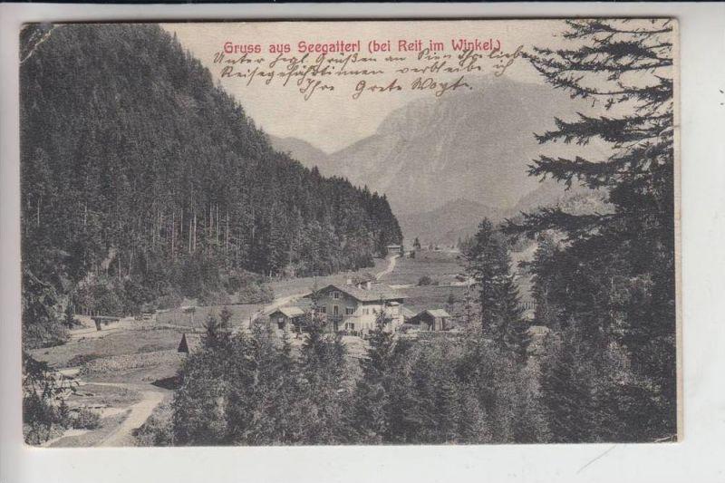 8216 REIT IM WINKL, Gruss aus Seegatterl, 1907, Briefmarke fehlt, kl. Eckknick