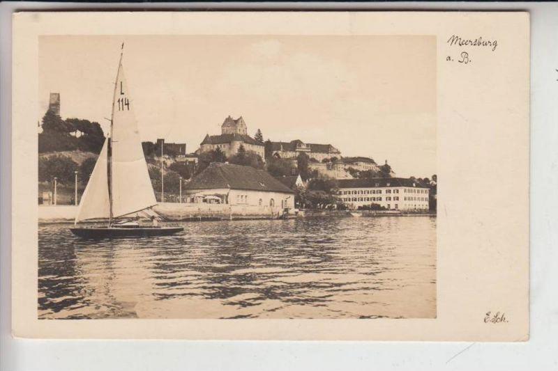 7758 MEERSBURG, Ortsansicht v. Bodensee mit Segler 1935