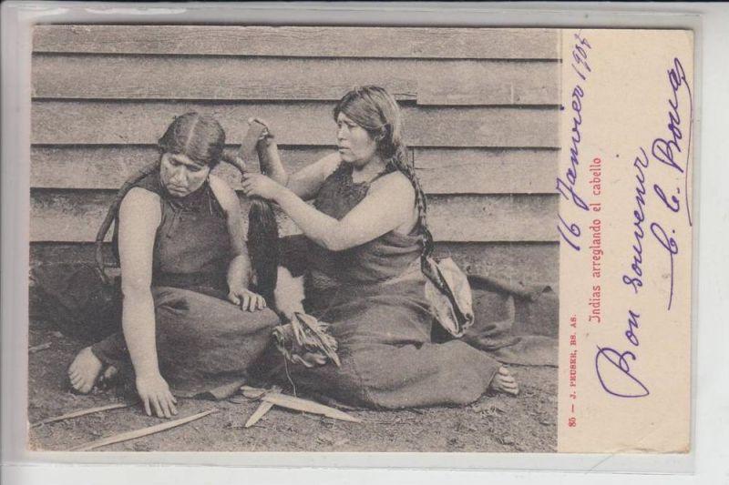 ARGENTINIEN - INDIOS / Ethnic / Völkerkunde, Indias arreglando el cabello 1903