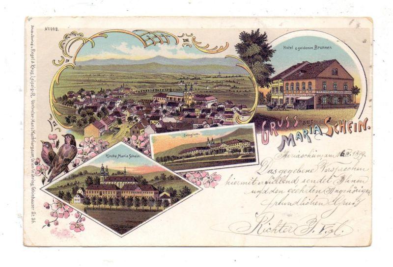 BÖHMEN & MÄHREN - MARIASCHEIN / BOHOSUDOV, Lithographie 1899, Hotel t. goldenen Brunnen, Kirche, Collegium, Dorfansicht