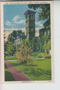 USA - SOUTH CAROLINA - GREENVILLE, Main Building and Bell Tower Furman University, Linen-card