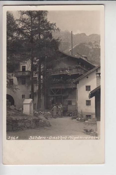 A 6450 SÖLDEN, Gasthof Alpenverein1942, Briefmarke fehlt teilweise