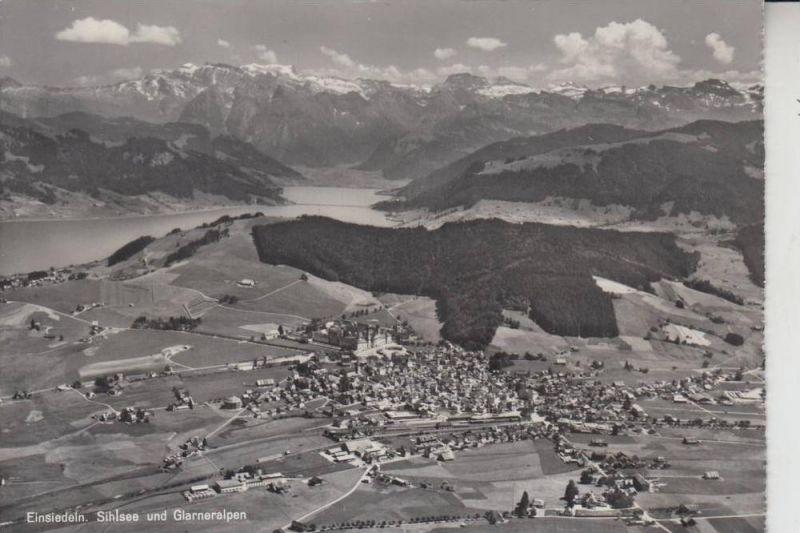 CH 8840 EINSIEDELN, Sihlsee & Glarneralpen, Flugaufnahme 1957, Briefmarke fehlt