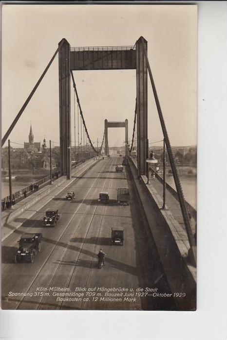 5000 KÖLN - MÜLHEIM, Mülheimer Brücke, Blick nach Mülheim, 1930