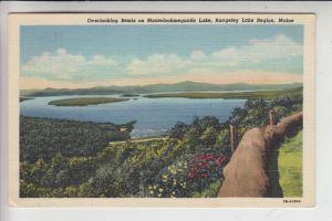 USA - MAINE - RANGELEY Lake Region, Overlooking Bemis on Mooselookmeguntic Lake, 1948, Linen card Teich
