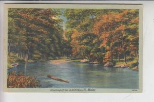 USA - MAINE - BROOKLIN, Greetings from.., 1948, Linen-card Tichnor