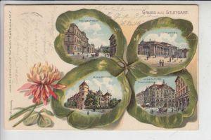 7000 STUTTGART, Kleeblatt-Lithographie 1904, sehr dekorativ & sehr gute Erhaltung