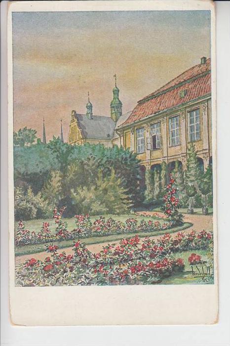 DANZIG - OLIVA, Künstler-Karte Wiederhold, Schloß mit Klosterkirche