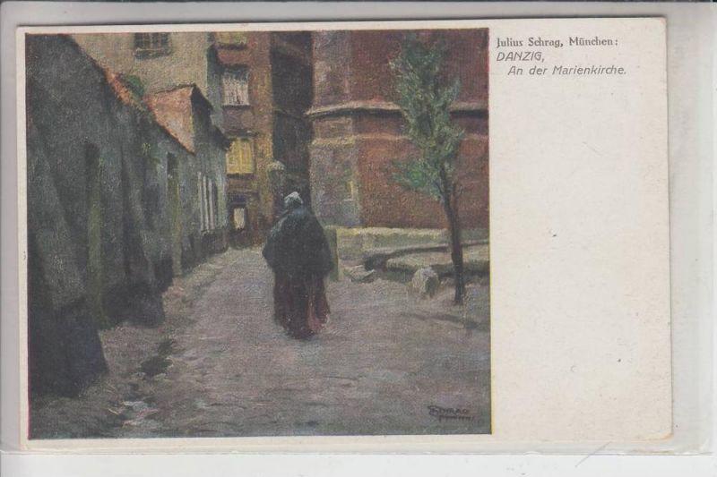 DANZIG, Künstler-Karte Julius Schrag, An der Marienkirche