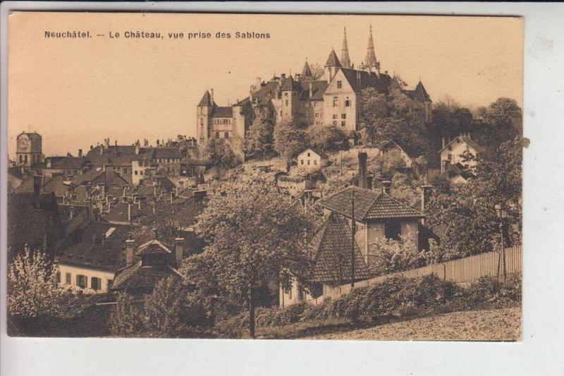 CH 2000 NEUCHATEL / NEUENBURG, Le Chateau, vue pris des Sablons, kl. Klebereste rückseitig