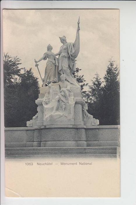 CH 2000 NEUCHATEL / NEUENBURG, Monument national, frühe Karte-ungeteilte Rückseite, kl.Knick