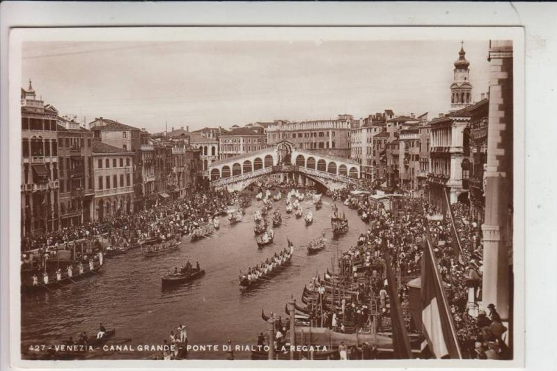 I 30100 VENEZIA / VENEDIG, Canal Grande, Ponte di Rialto a Regata 1936