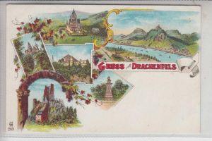 5330 KÖNIGSWINTER, DRACHENFELS, Gruss vom Drachenfels, dekorative Rückseite, 6-teilige Lithographie