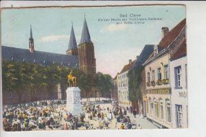 4190 KLEVE, Kleiner Markt mit Kurfürsten-Denkmal und Stifts-Kirche 1928 - Color