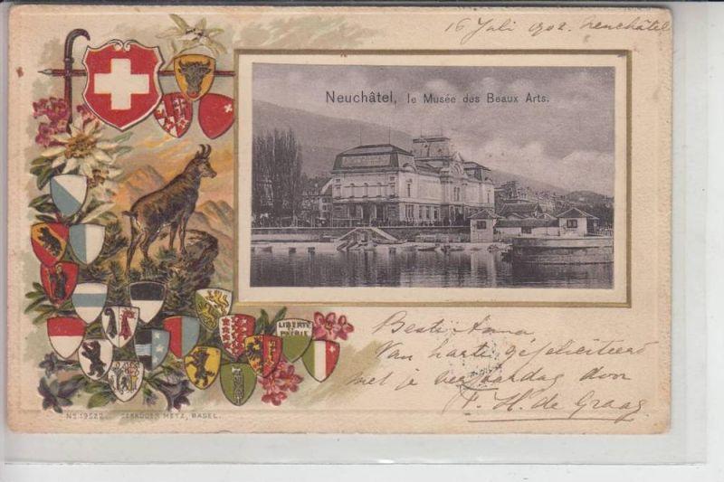 CH 2000 NEUCHATEL / NEUENBURG, Lithographie Wappenprägekarte 1902, le Musee des Beaux Arts