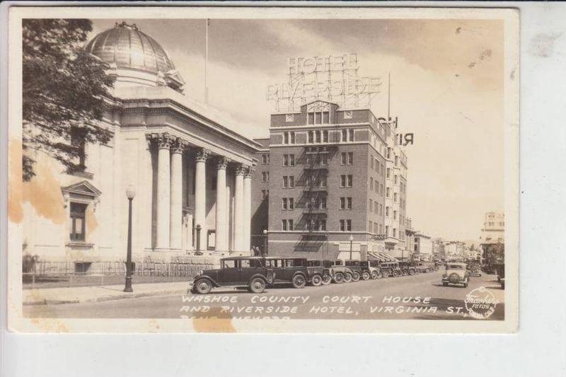 USA - NEVADA - RENO, Virgina Street, Washoe County Court House & Riverside Hotel, kl. Flecken