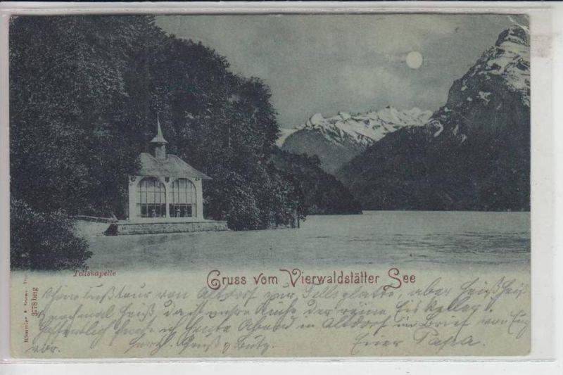 CH 6452 SISIKON UR, Tellskapelle 1898, Mondscheinkarte,  Briefmarke fehlt teilweise