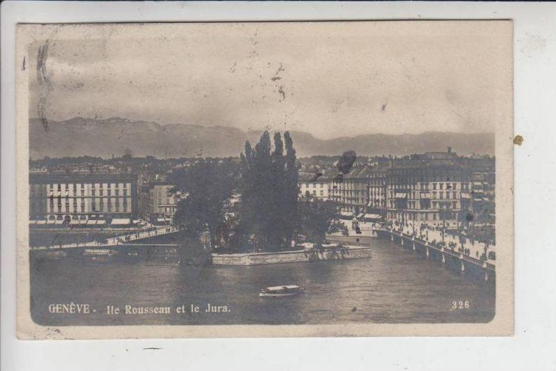 CH 1200 GENF - GENEVE, Ile Rousseau et le Jura 1909, nach Moskau gelaufen, Briefmarke fehlt