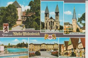 4840 RHEDA - WIEDENBRÜCK, Mehrbildkarte, u.a. Bahnhof Rheda